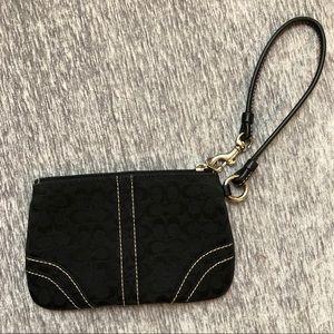 Coach Black Logo Wristlet Wallet Clutch Strap Bag